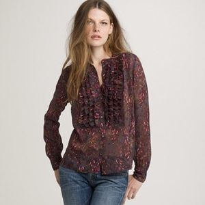 •J. Crew• Bayberry Flouncette Blouse
